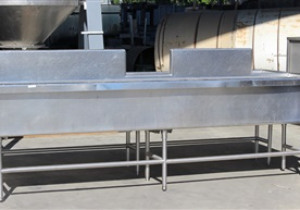 """One used Stainless Steel Washing Tank, 128"""" x 54"""", split into two halves"""