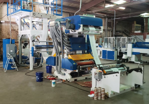 """39"""" Wide 55mm T Shirt Bag Extrusion Line (3) Machines ( extruder+in line printer + making bag)"""