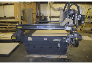 Used Multicam 3000 Series CNC Router with Tool Changer, 5′ x 12′ Table, New in 2005