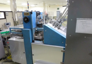 Complete blister packing line for tablets & capsules with Uhlmann UPS4ET and C100 cartoner, check weigher and collator shrink wrapper