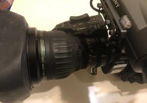 "Canon HJ22ex7.6BIASE 2/3"" HD Dual Servo Zoom Lens With 2x Range Extender"