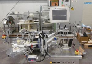 Pago System 250 fully automatic self-adhesive labelling machine for bottles, vials, etc.