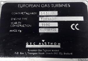 EUROPEAN GAS TURBINES TORNADO Generator set