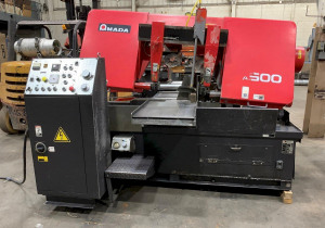 """Amada Ha-500 Automatic Horizontal Band Saw, 20"""" Cap, 1.5"""" Blade, 5' Roller Conv., Hyd Chip Auger,"""