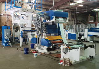 "39"" Wide 55mm T Shirt Bag Extrusion Line (3) Machines ( extruder+in line printer + making bag)"