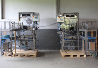 2 x MECTEC PCU IV-ACC-B4 top label applicator with hot stamp printer attached