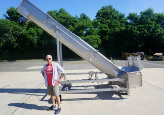 20 In. Diameter X 17 Ft. Long Stainless Steel Auger/Screw Loader-Feeder, Pivot Style