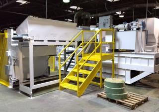 C & M Baling System Mdl. CM3430-7237 Horizontal Baler w/Dumper, Infeed Conveyor