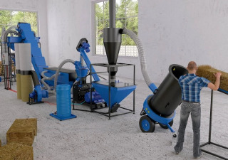 Straw pelleting line. Full cycle