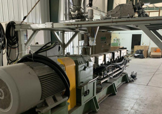 Used 63Mm Nanjing Giant Twin Screw Extruder W Gala Complete Pelletizing Line