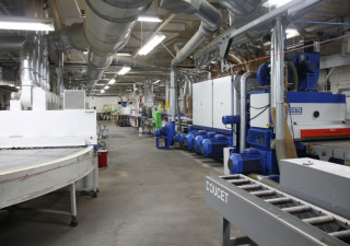 Used Rigma Doucet & Costa Roll-Coating UV/IR Finishing Line w/ Packaging